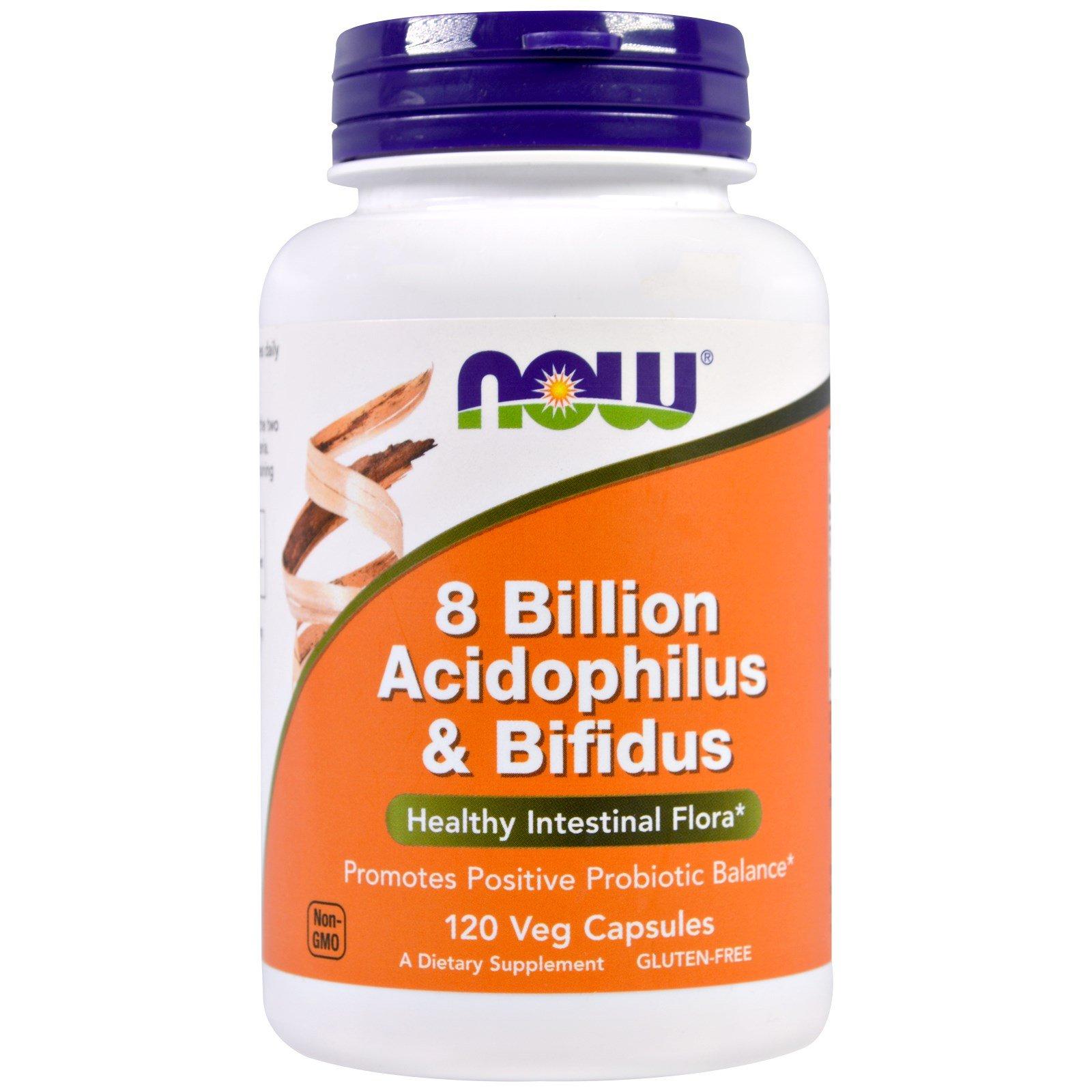 NOW Foods Acidophilus/bifidus 8 Billion, 120 Capsules (Pack of 3 (120 vcaps ea))
