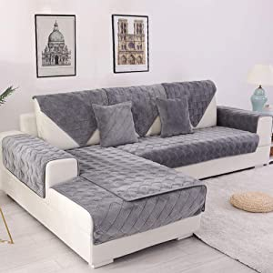 Deep Dream Sectional Sofa Covers, Velvet Sofa Slipcover Furniture Protector Anti-Slip Couch Covers for Dogs Cats Kids 28 x 59 Inch - Dark Grey (Sold by Piece/Not All Set)