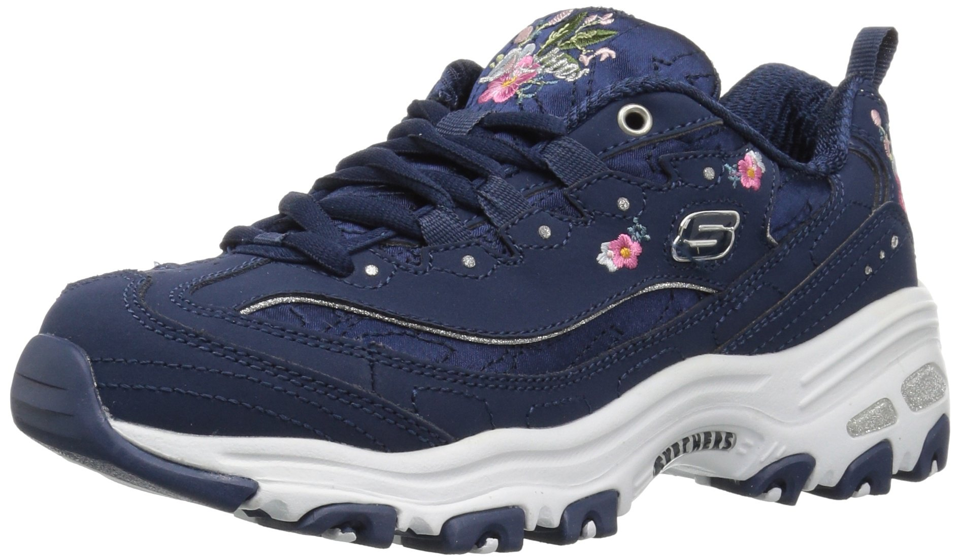 Skechers Women's D'Lites Bright Blossoms Sneaker,Navy,7.5 M US