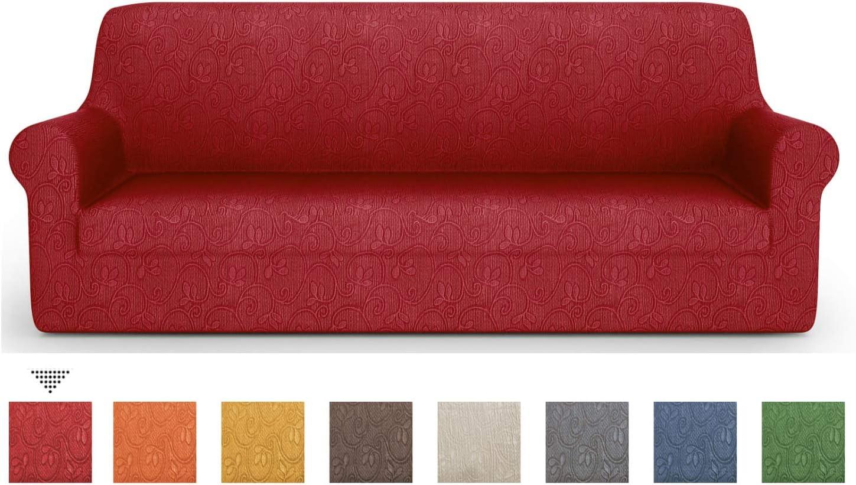 PETTI Artigiani Italiani Sofa, Elástica para Sofá, Tejido Jacquard, 100% Made in Italy, Tela, Burdeos, Funda Sillon (85 a 110 cm)