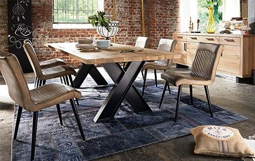 Tisch Esstisch Jord Rustikal Europaische Wild Eiche Massiv Holz 220 X 100 Cm Rustikale Bahnschwellen Amazon De Kuche Haushalt