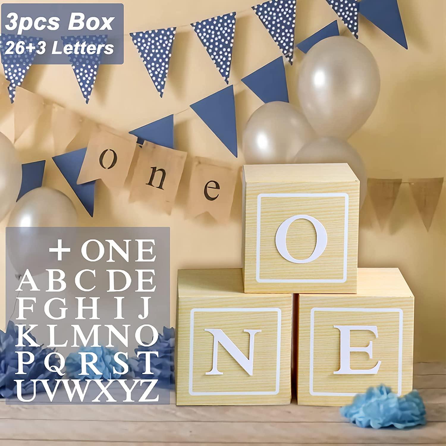 1st Birthday Decorations - 3Pcs ONE Boxes Decor with A - Z Letters,First Birthday Wood Grain Paper Party Boxes for Baby Shower,DIY ONE Blocks for Boy Girl 1 Year Old Birthday Backdrop Favor