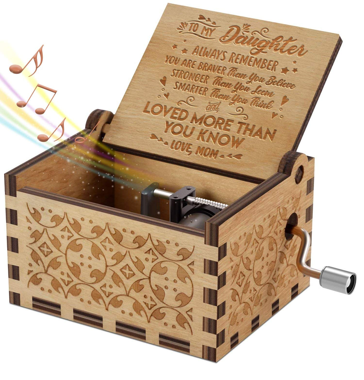 Engraved Music Box - You are My Sunshine, Gift for Daughter from Mom - You Are Stronger Than You Seem (B - From Mom) by DOPTIKA