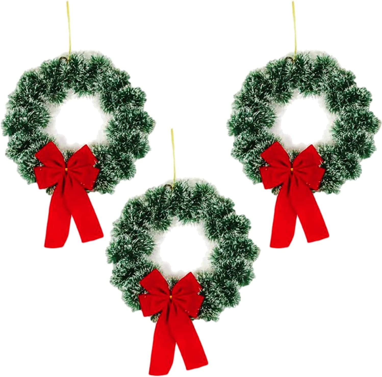 Plum Nellie Christmas Wreath Pine Snow Tips with Red Bow 9.5 Diameter Set of 3 (Dark Pine)