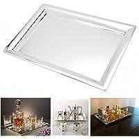 Le'raze Elegant Mirrored Rectangular Silver Tray, Mirrored Tray for Whiskey Decanter, Candle Sticks, Vanity Set, Perfume…