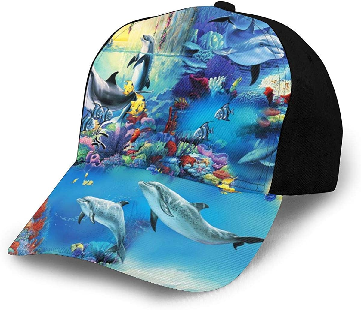Dolphin World Paradise Lightweight Unisex Baseball Caps Adjustable Breathable Sun Hat for Sport Outdoor Black