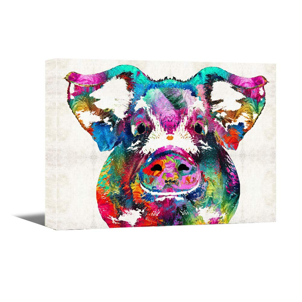Canvas Wall Art -Colorful Pig Pet Painting -16\