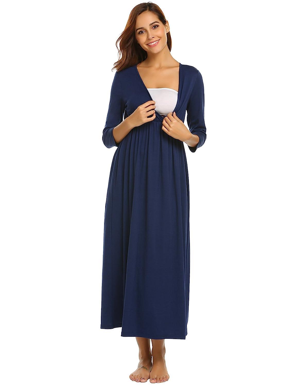 zeela Damen Lang Umstandsnachthemd Stillnachthemd V-Ausschnitt Umstandskleid 3/4 Ärmel Nachthemden für Schwangere und Stillzeit mit Stillfunktion S-XXL