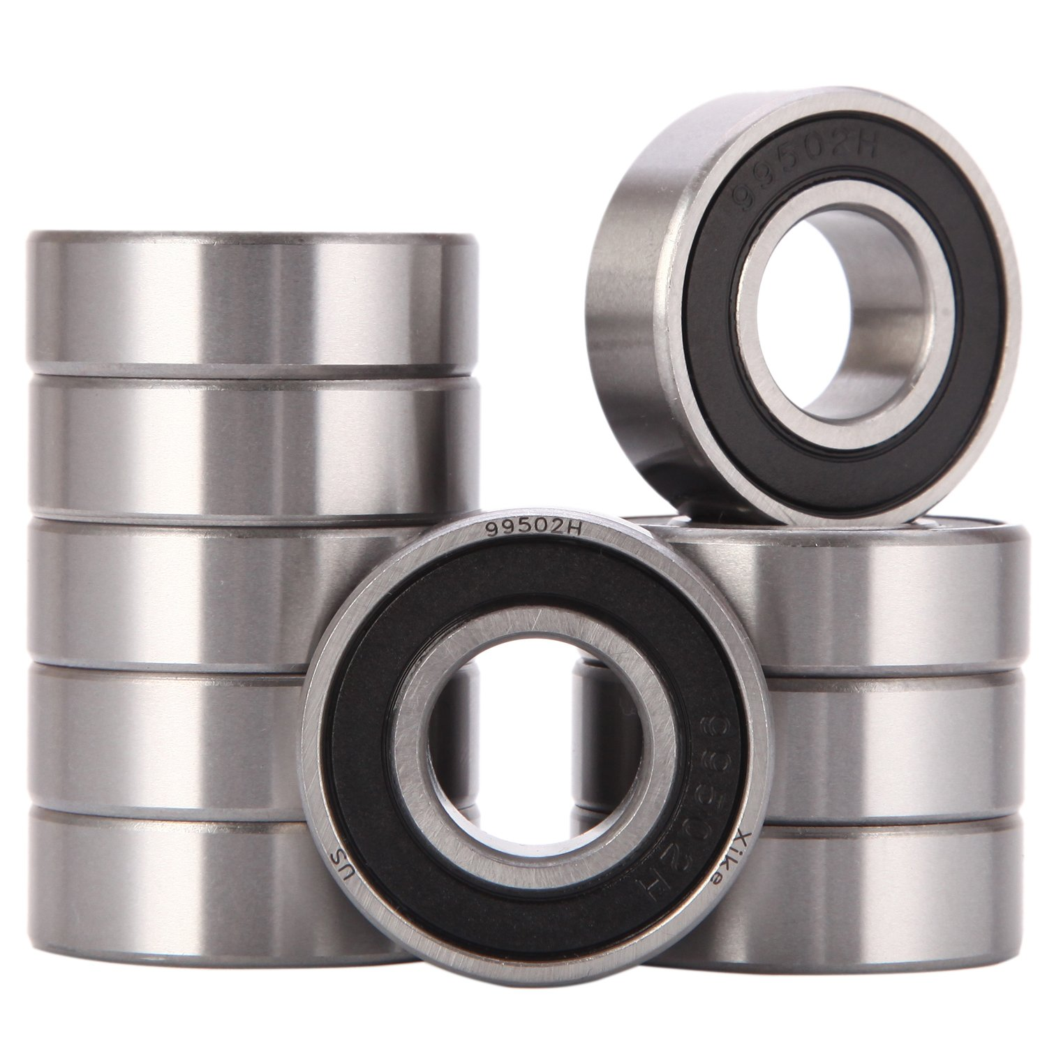 XiKe 10 Pack 99502H or 1623-2RS Bearings 5/8'' x 1-3/8'' x 7/16'' inch, Stable Performance and Cost-Effective, Double Seal and Pre-Lubricated, Deep Groove Ball Bearings.