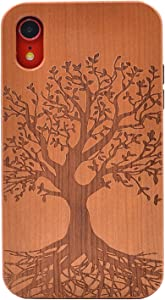 CYD Wooden Case for iPhone XR,Natural Real Wood Engraved Life Tree Shockproof Drop Proof Slim Bumper TPU Protective Cover