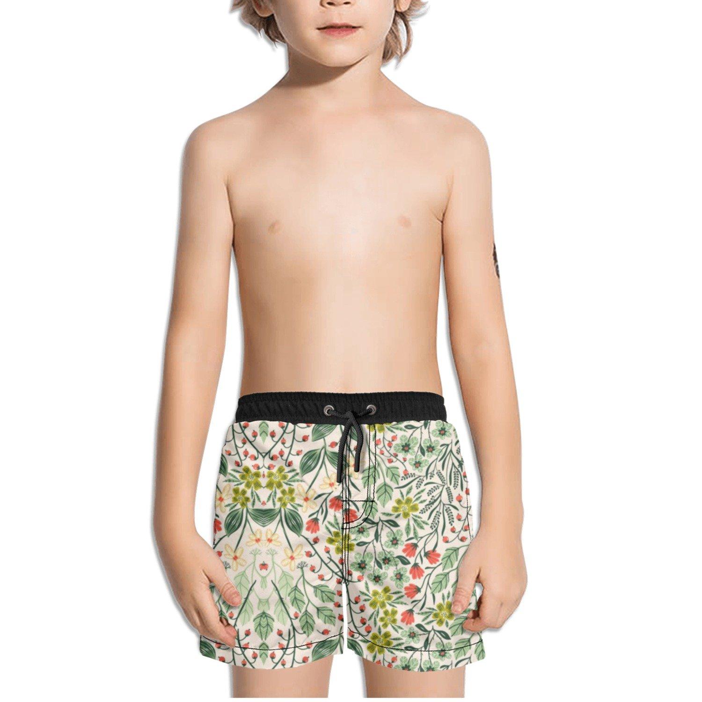 Ouxioaz Boys Swim Trunk Illustration Nature Flowers Beach Board Shorts