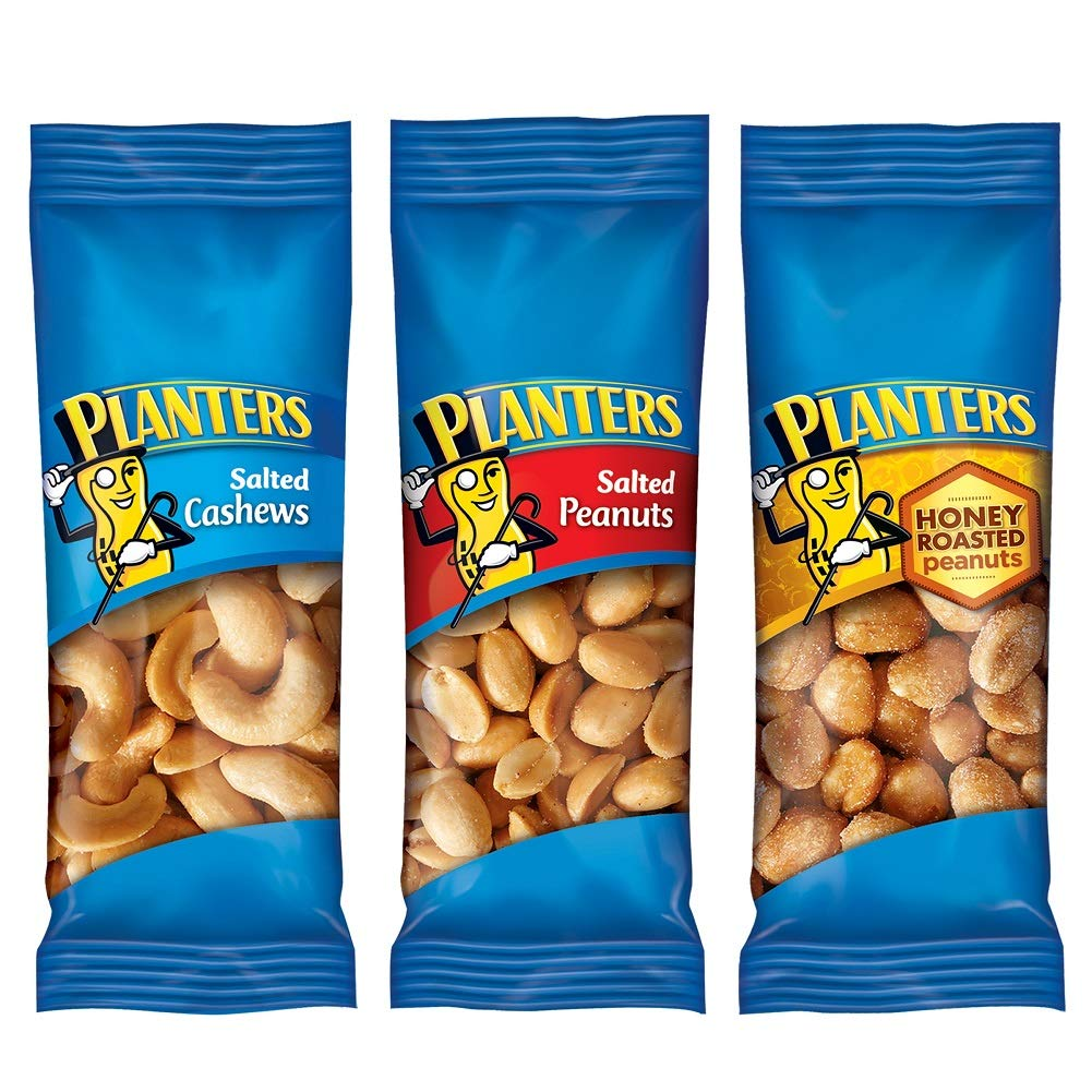 PLANTERSVariety Packs (Salted Cashews, Salted Peanuts & Honey Roasted Peanuts) Individual Bags of On-the-Go Nut Snacks, No Cholesterol or Trans Fats, 1.75 oz, Pack of 36