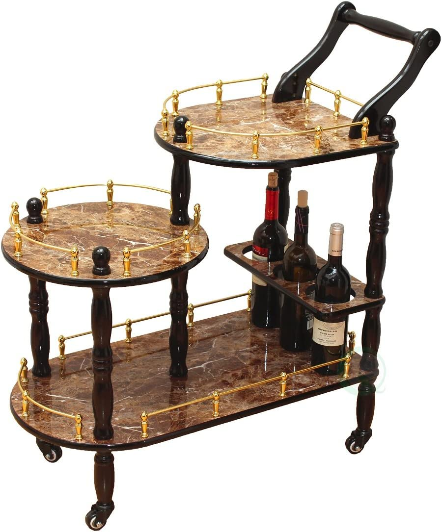 Uniquewise TM 3-Tier Serving Tea Cart, Gold Marble Finish