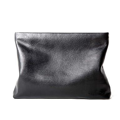 4108399caf8a Genuine Leather Envelope Clutch Bag Business Portfolio Briefcase for Men  Black