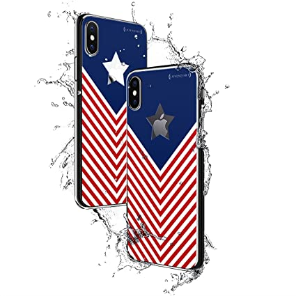 US FLAG ARROWS W/ STAR | Luxendary Chrome Series designer case for iPhone X in Titanium Black trim