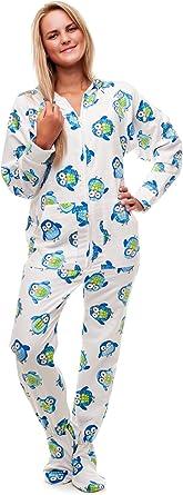 Kajamaz Pijama Entero con pies para Adultos Búho Nocturno Pijama Entero con pies para Adultos de Franela