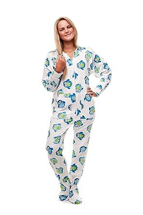 d5331b19b8 Kajamaz Nachteule Strampler/Einteiler/Schlafoverall/Schlafanzug/Pyjamas Für  Erwachsene mit Füßen,