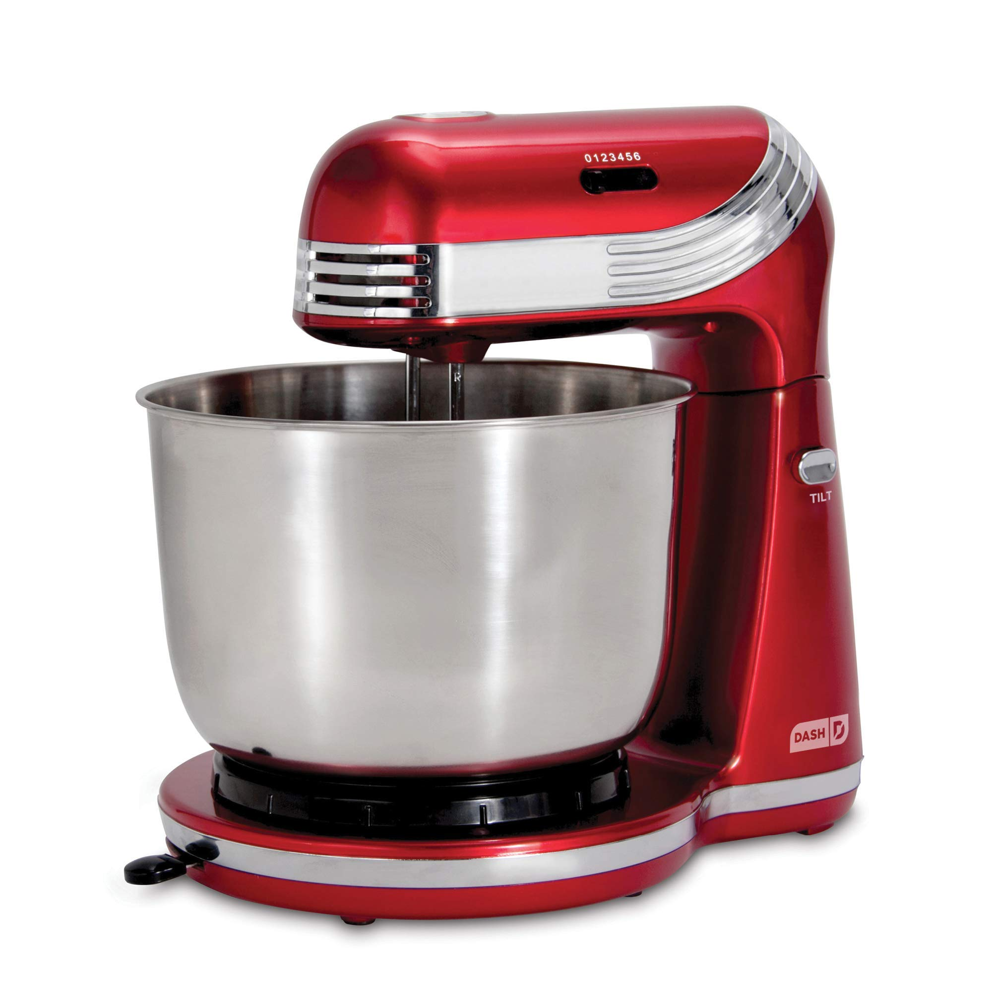 Dash Stand Mixer (Electric Mixer for Everyday Use): 6 Speed Stand Mixer with 3 qt Stainless Steel Mixing Bowl, Dough Hooks & Mixer Beaters for Dressings, Frosting, Meringues & More - Red (Renewed) by DASH