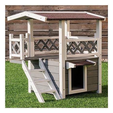 Amazon.com: Casa de madera para gatos de 2 pisos, resistente ...