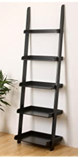 EHemco 5 Tier Leaning Wall Book Shelf In Black Finish 21 8