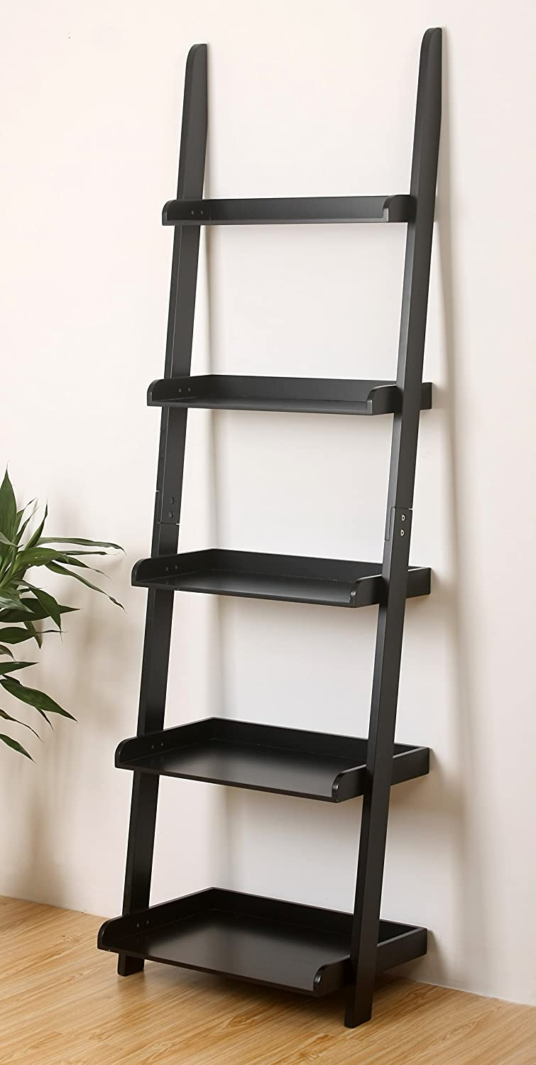 Gentil Amazon.com: EHemco 5 Tier Leaning Wall Book Shelf In Black Finish 21 5/8u201cW  X70u201dH: Kitchen U0026 Dining