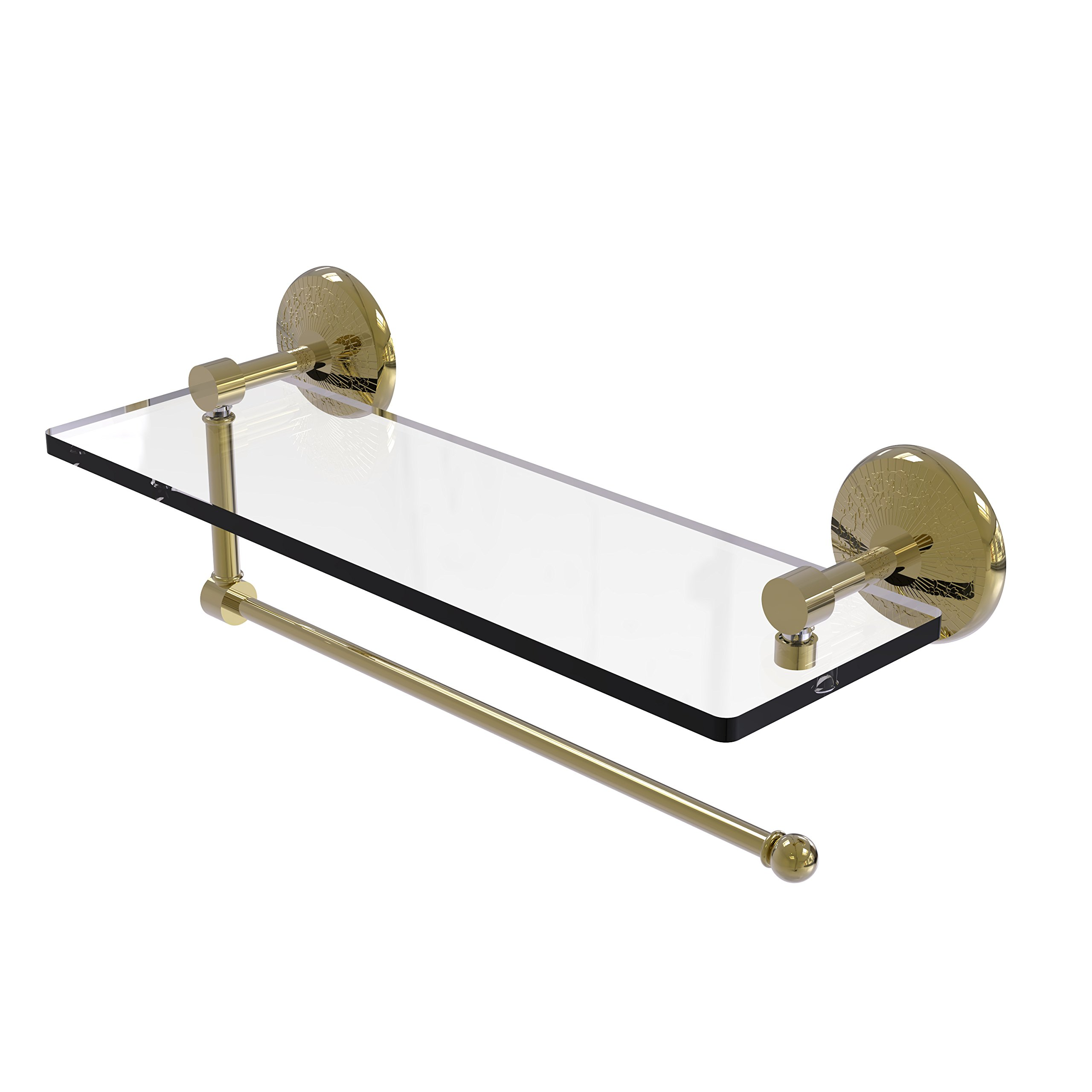 Allied Brass Prestige Monte Carlo Collection Paper Towel Holder with 16 Inch Glass Shelf PMC-1PT/16 - Unlacquered Brass