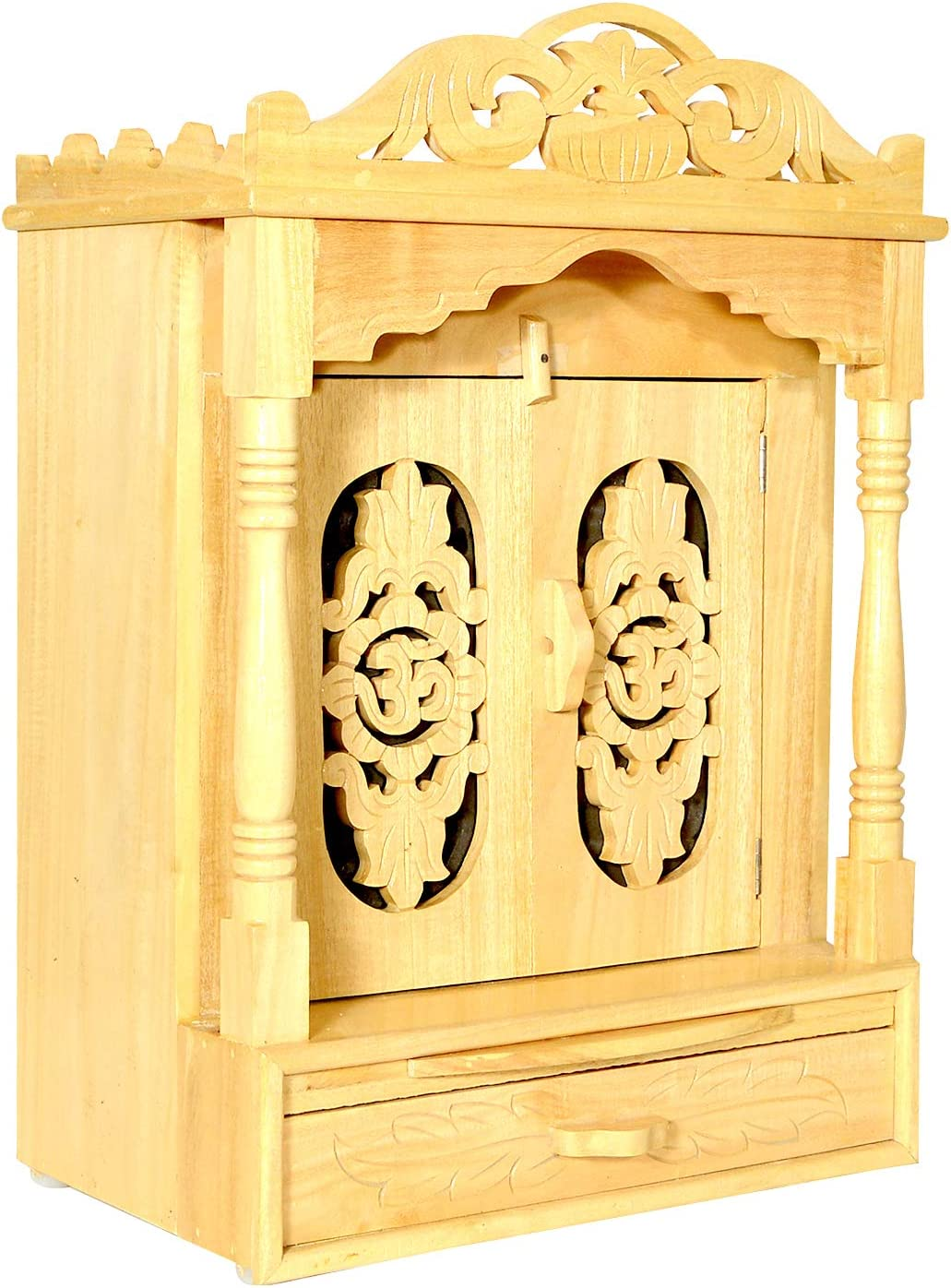 Wooden Temple/Mandir for Home/Temple for Home Wall/Home Temple/Mandir/Pooja Mandir/Pooja Temple/Cabinet Temple/Mandap/Temple for Home/Handicraft Sevan Wooden Temple AMBA AHTP007