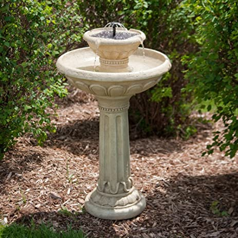 Smart Solar Smart Solar Kensington Gardens 2 Tier Solar Bird Bath Fountain,  Resin U0026