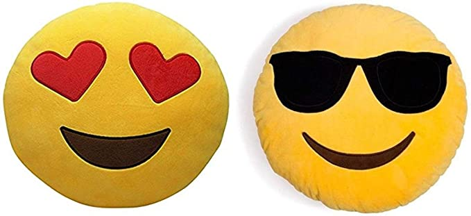 Minitrees Cool Dude and Heart Eyes Decorative Smiley Plush Pillow Cushions (Pack of 2)