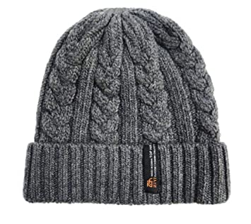 eef6dea2397 Image Unavailable. Image not available for. Color  Upspirit Men s Oversize  Cuff Cable Knit Beanie Hat ...