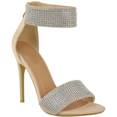 donna sposa strass alto tacco a spillo cinturino alla Caviglia sandali da  party - color carne 33cac35426d