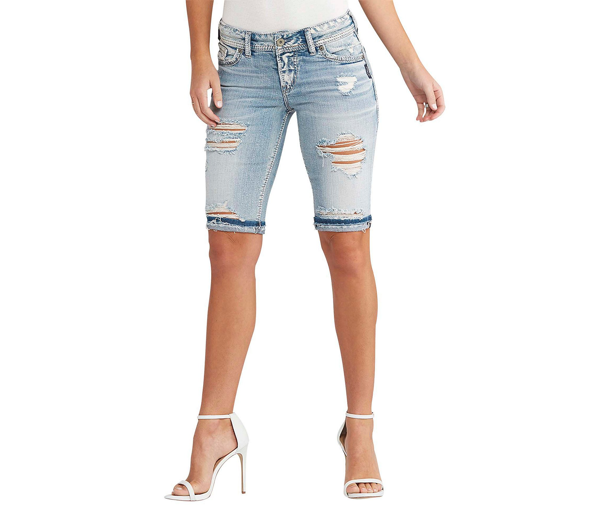 Silver Jeans Women's CO Suki Curvy Fit Mid Rise Bermuda Shorts, Light Destroyed Wash, 31