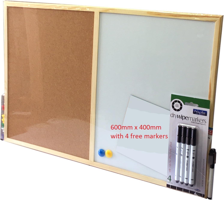 Wooden Framed White Wipe Message Notice Board Dry Erase Marker Memo 600 x 400mm