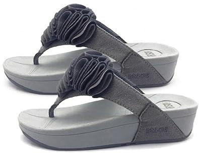 d149841881064 Womens GREY Toning FLIP FLOPS Ladies Low High Wedge Heel Sandals ...
