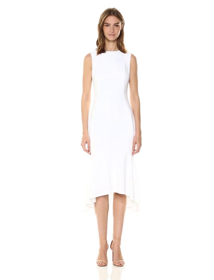 Calvin Klein Women's Sleevless High Low Flounce Hem Dress