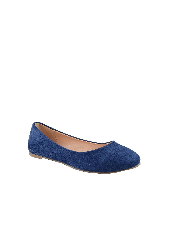 Chase & Chloe Ami-1 Round Toe Classic Ballet Flat B078X35J4H 7 B(M) U.S|Royal Blue Suede