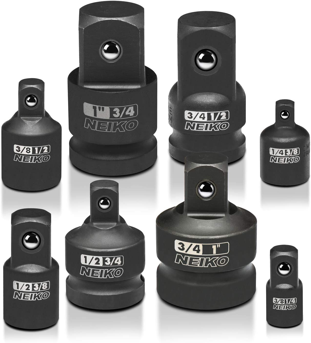 Neiko 30223A Impact Adapter and Reducer Set, 8 Piece | Cr-V | SAE - Socket Wrenches -