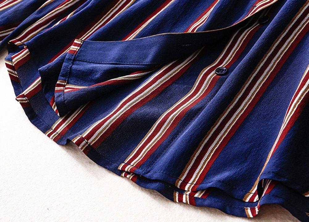 Silk L amp;kk Femmes Revers Mulberry Soie Chemise Maturité Stripe jqzMLpSUVG