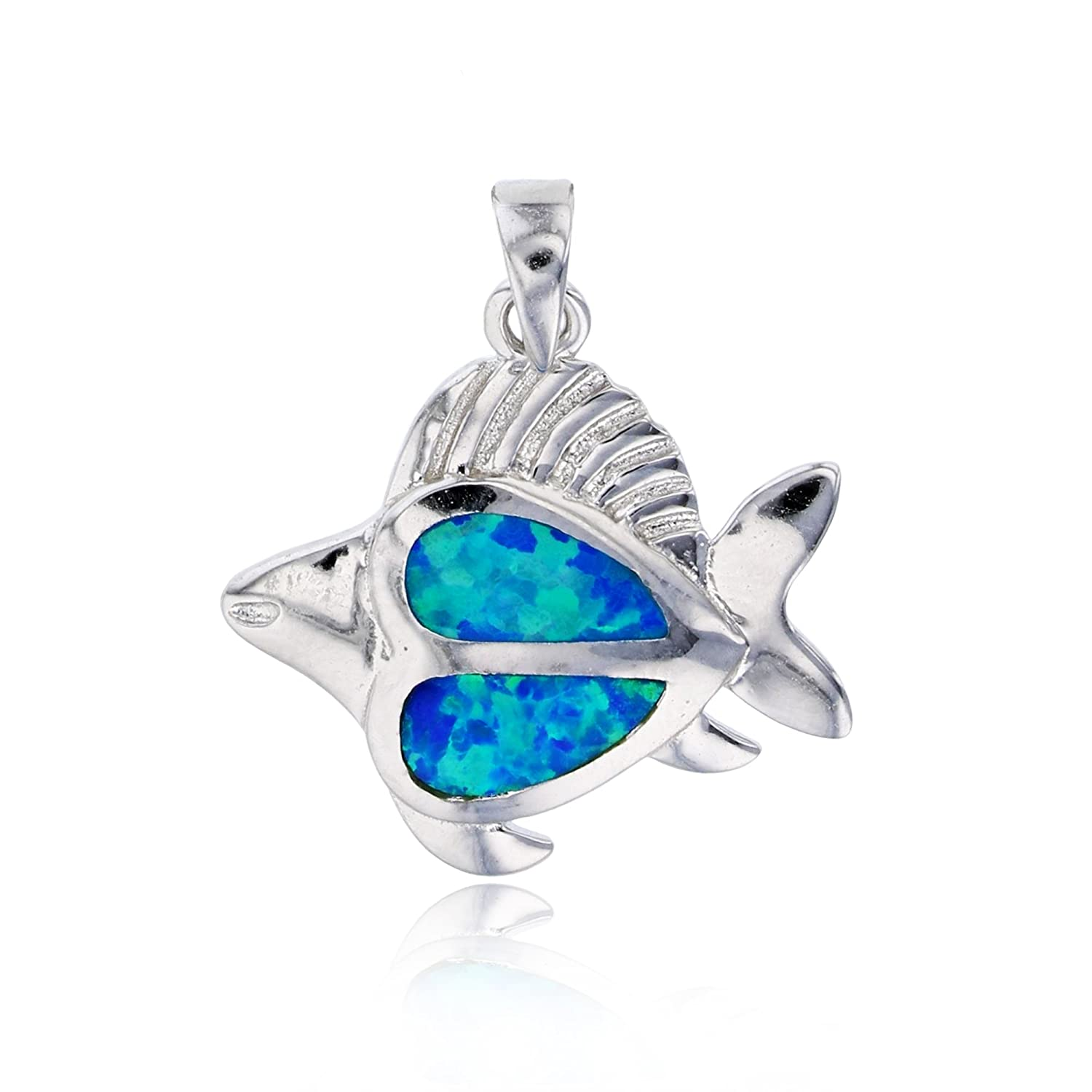 Sterling Silver Created Opal Fish Pendant
