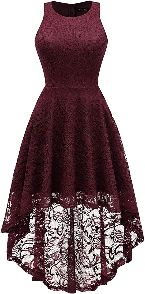 Meetjen Damen Vokuhila Kleid Cocktail Spitzenkleid Armellos Festlich Party Abendkleid Burgundy 3xl Amazon De Bekleidung