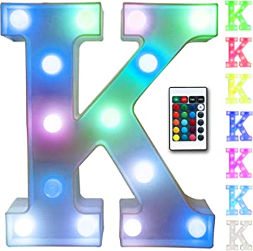 Colorful led marquee letter lights with Remote Color-Changing Light Up Alphabet Signs Decorations for Home Party Bar, Multicoloured K