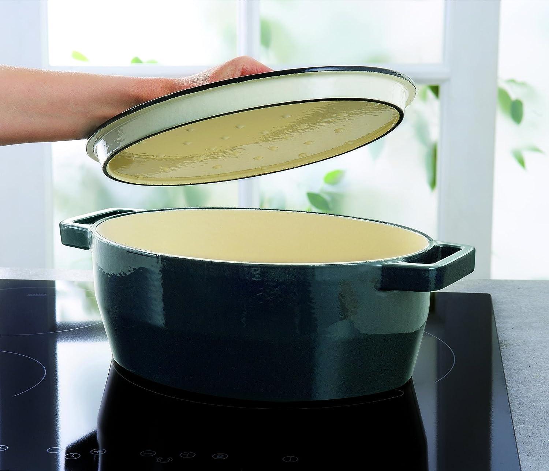 Carbon Black Pyrex 29 cm Slow Cook Enamelled Cast Iron Oval Casserole
