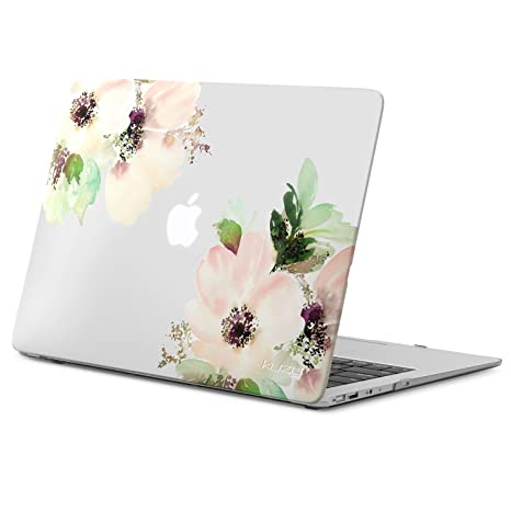 sports shoes 81a1f 10fa5 Kuzy MacBook Air 13 inch Case A1466 A1369 Soft Touch Cover for Older  Version 2017, 2016, 2015 Hard Shell - Frosted Clear Flowers