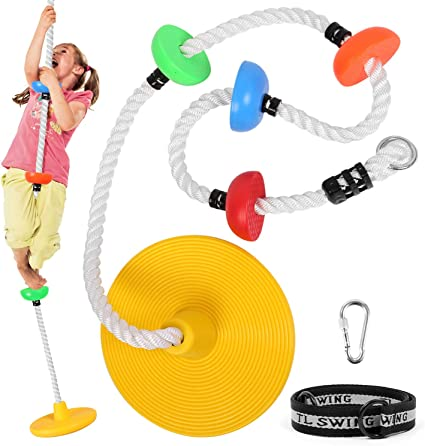 Odoland Tree Climbing Rope Platforms Swing Disc Swings Seat with Carabiner and Tree Strapand Multicolor Kid Swing Set Outdoor Backyard Playground Accessories for Child