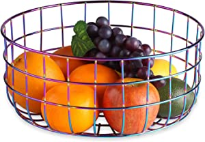 Buruis Kitchen Wire Fruit Basket Bowl, Metal Wire Fruit Storage Holder Stand, Vegetables, Snacks, Bread Countertop Organizer, Modern Home Table Decor (Symphony)
