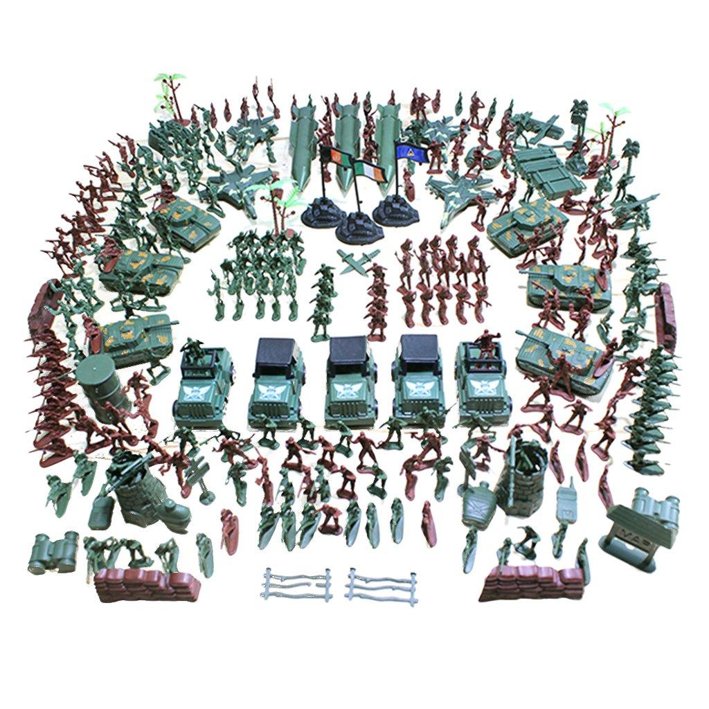 Baoblaze 519 Stück Plastik 4cm Soldat Figuren Modell Armee Kampf Spielset Geschenk für Kinder - 307 Pcs/Set