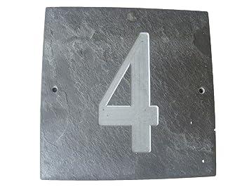4 número NATURAL gris SLATE para puertas número 15,24 cm x ...