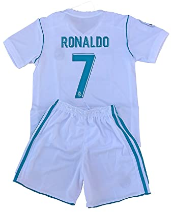 innovative design e4c68 5b513 7 Ronaldo Real Madrid Home Kids Youth Soccer Jersey & Shorts Set 2017-2018  Season White 7-8Years