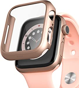 pzoz Compatible for Apple Watch Series 6/5 /4 /SE 44mm Case with Screen Protector Accessories Slim Guard Thin Bumper Full Coverage Matte Hard Cover Defense Edge for Women Men GPS iWatch (Rose Gold)