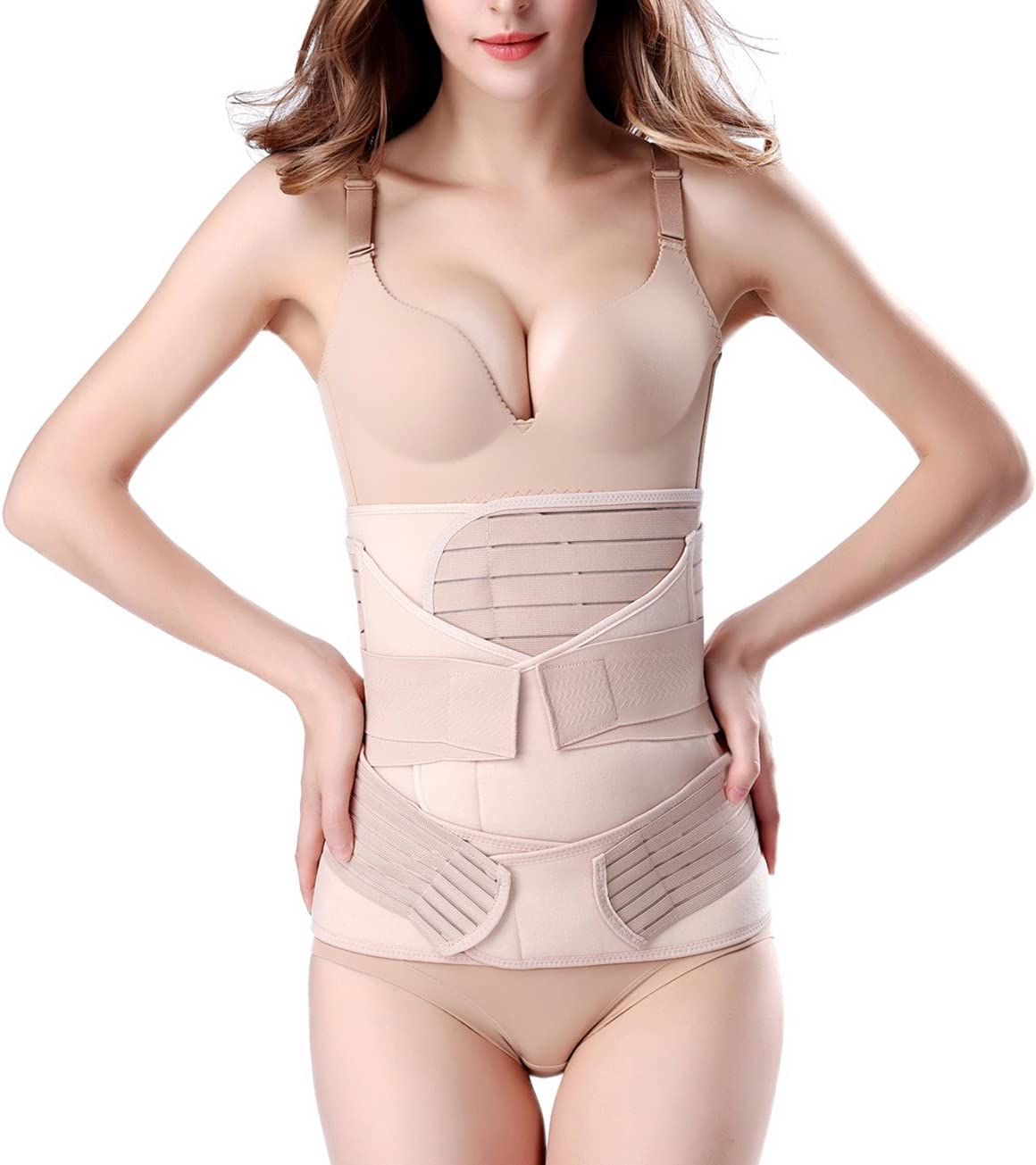 3 in 1 Postpartum Support - Recovery Belly/waist/pelvis Belt Shapewear Slimming Girdle, Beige, One Size